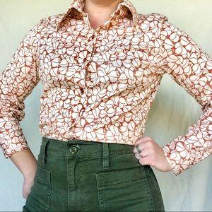 VTG 70s Poly Knit Pointed Collar Leaf Print Shirt